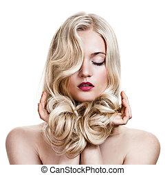 vacker, blondin, girl., hälsosam, länge, lockig, hair.