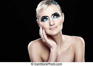 vacker, blondin, med, artistisk, smink