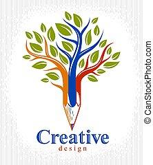 vacker, blyertspenna, stil, begrepp, konst, klassisk, träd, ...