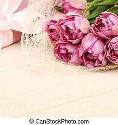 vacker, boxas, gåva, Trä, Rustik, bakgrund, Blomstrar