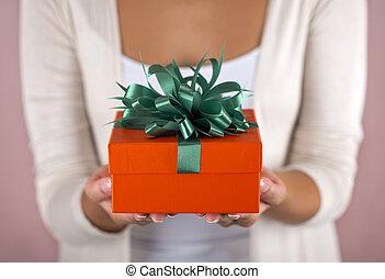vacker, boxas, holdingen, gåva, räcker