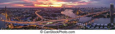 vacker, Bro, antenn,  Urban,  bhumiphol,  sky,  bangkok, dramatisk, trafik, gränsmärke,  Thailand, viktigt, synhåll