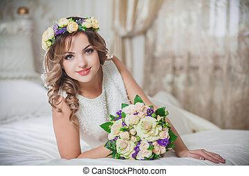 vacker, brud, bröllop