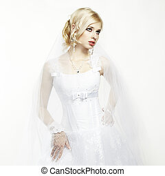 vacker, brud, ung, stående, bröllop