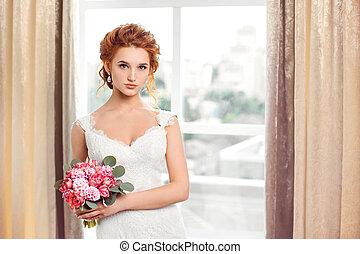 vacker, brud, wedding.