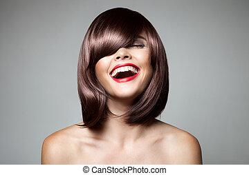 vacker, brun, haircut., kvinna, hairstyl, kort, hair., le