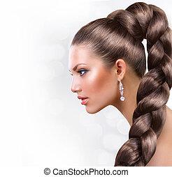 vacker, brun, kvinna, hälsosam, långt hår, hair., stående