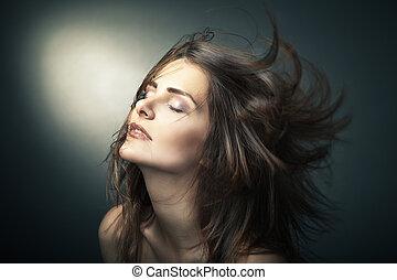 vacker, brun, kvinna, hår, länge, sensuell