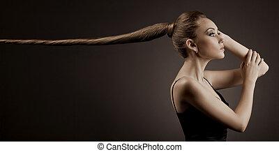 vacker, brun, kvinna, långt hår, portrait.