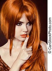 vacker, brun, mode, hairstyle., skönhet, hälsosam, slät, länge, girl., sträckningarna, glatt, hair., modell, woman., röd, nails.