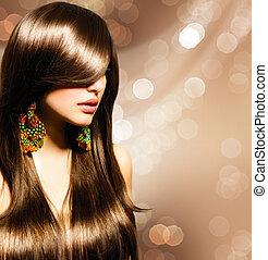 vacker, brunett, girl., hälsosam, brunt hår länge