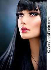 vacker, brunett, girl., hälsosam, länge, svart hår