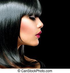 vacker, brunett, girl., skönhet, kvinna, med, kort, svart...