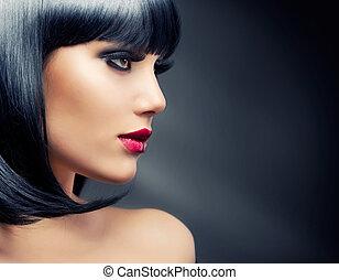 vacker, brunett, hälsosam, hår, girl., svart