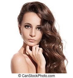vacker, brunett, hälsosam, länge, girl., bakgrund, hair., vit