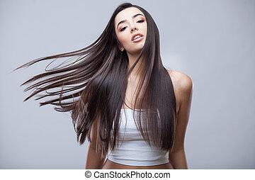 vacker, brunett, hälsosam, långt hår, flicka