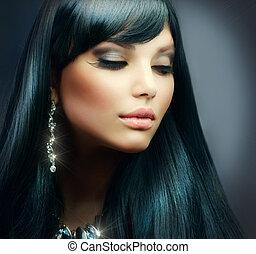 vacker, brunett, hälsosam, smink, långt hår, girl., helgdag