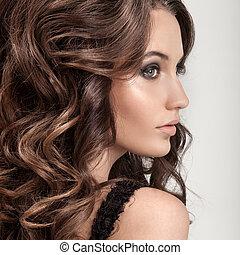 vacker, brunett, lockig, länge, hair., woman.