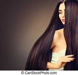 vacker, brunett, modell, flicka, med, länge, rak, svart hår, över, skum fond