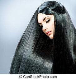vacker, brunett, rak, länge, hair., flicka
