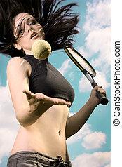 vacker, brunett, skott, tennis, handling, leka