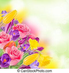 vacker, bukett, av, flowers.