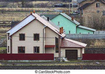 vacker, byggt, område, hus, lyxvara, yttre, bostads, suburbun, nyligen, home.