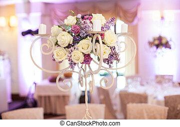 vacker,  centerpiece, Närbild, mottagande, bröllop, blommig, bord