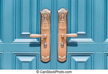 vacker, dörr, och, låsa