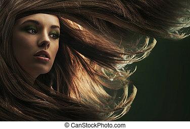 vacker, dam, med, brunt hår länge