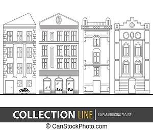 vacker, detaljerad, vektor, viktorian, byggnad, grafisk, nät, townhouses., lek, illustration, rörelse, stad, linjär, gata, kollektion, mall, stadsbild, liten, facades., design.