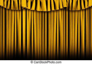 vacker, draperat, gyllene, arrangera, teater