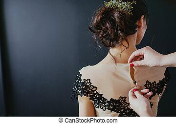 vacker, dress., ung, baksida, kvinna, svart, synhåll