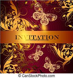 vacker, elegant, stil, design, inbjudan