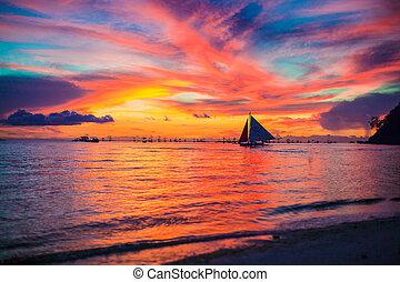 vacker, exotisk, karibisk, förbluffande, solnedgång, havsstrand