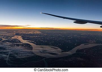 vacker, fönster, airplane, landskap, synhåll