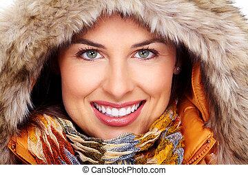 vacker, face., kvinna, ung