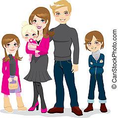 vacker, familj, lycklig