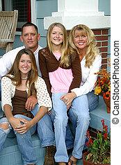 vacker, familj, tillsammans