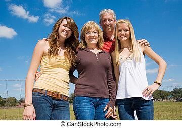 vacker, familj, utomhus