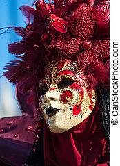 vacker, fantastisk, karneval, avbild, streets, venedig, ...