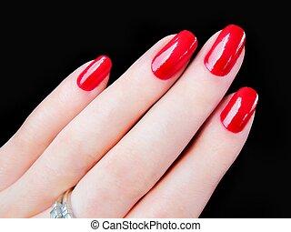 vacker, fingernaglar, röd, womans