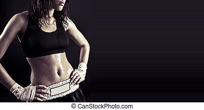 vacker, fitness, kropp