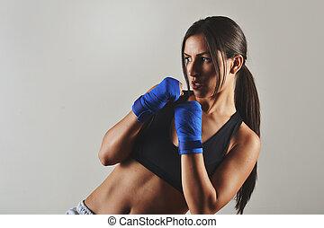 vacker, fitness, kvinna