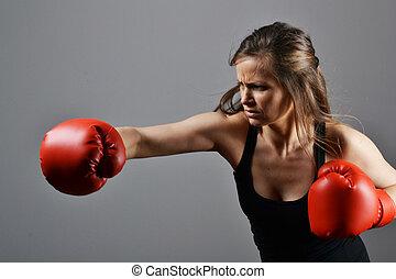 vacker, fitness, kvinna, boxning