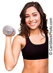 vacker, fitness, kvinna, lyftande vikt