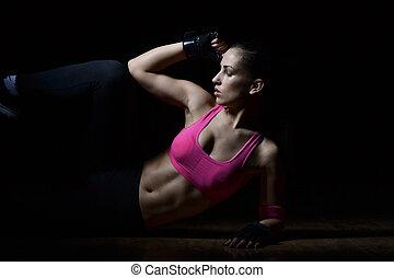 vacker, fitness, kvinna ute arbeta