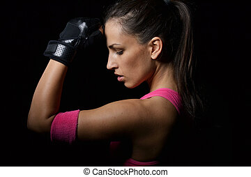 vacker, fitness, kvinna, vila