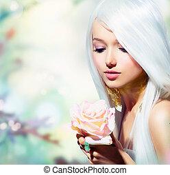 vacker, fjäder, flicka, med, ro, flower., fantasi