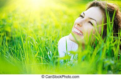 vacker, fjäder, ung kvinna, utomhus, avnjut, natur